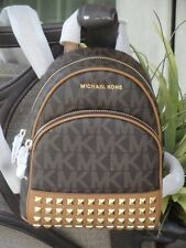 MICHAEL KORS ABBEY XS STUDDED BACKPACK BAG TOTE $348 MK SIGNATURE PVC BROWN