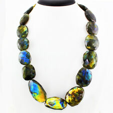 872.05 CTS NATURAL BLUE FLASH FACETED LABRADORITE BEADS NECKLACE GEMSTONE