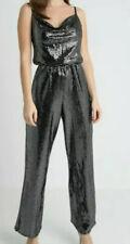 Miss Selfridge Petite Jumpsuit, Cowl Neck, Wide Leg, Metallic, Size 12, BNWT