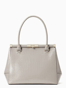 KATE SPADE NEW YORK Knightsbridge Constance Croc Embossed Leather Tote Gray $698
