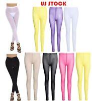 US Women Mesh Sheer Long Pants See Through Leggings Skinny Trousers Underwear