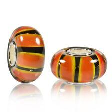 Materia Murano Glas Bead orange schwarz - 925 Silber Perle für Beads Armband