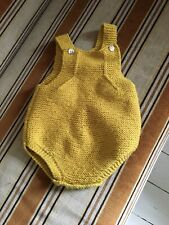 Knitted Mustard Yellow Baby Dungaree 0-3 Months