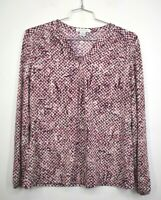 Liz Claiborne Womens Pink V-Neck Long Sleeve Stretch Printed Blouse Shirt L