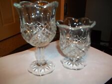 "Home Interiors Set Of 2 Crystal Vases 6""Long Stem, 4""Short Stem Clear Candle Ho"