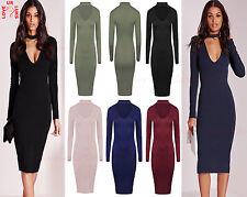 New Ladies Long Sleeve Choker Neck Dress Womens V Neck Midi Plain Plus Size 8-26