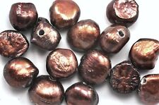 10x 2 mm Big Hole Chocolate Brown Baroque Nugget Freshwater Pearls 11-13mm