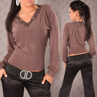 NEW SEXY KNIT V-NECK JUMPER SWEATER WITH STONE DETAIL 6 8 10 12 14 WOOL BLEND
