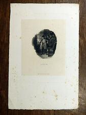 Gravure DELACROIX / POURVOYEUR Portrait de Louis XI sur chine appliqué