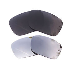2 Pairs Black&Silver Mirrored Replacement Lenses for-Oakley Fuel Cell Polarized