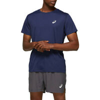 Asics Mens Silver T Shirt Tee Top - Blue Sports Running Breathable Lightweight