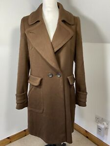 Next Dark Brown Fitted Mid Length Winter Coat Size 16 2 Pockets Fitted