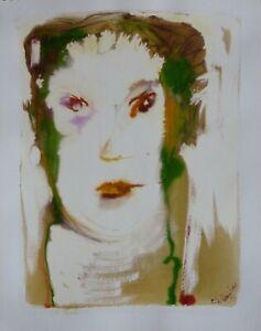 Expressive POTRAIT original artwork watercolor painting drawing BELAUBRE 1997