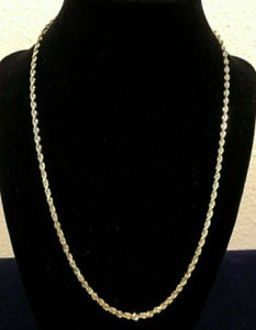 """14K Solid Yellow Gold Rope Chain Necklace, 20"""""""