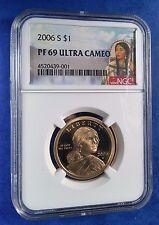 2006 S Sacagawea $1 Ngc Pf69 Ultra Cameo Red Portrait Label (001)