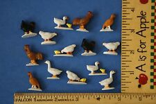 Lot of 14 ~ MINIATURE tiny plastic toy/craft FARM BIRDS~Chicken Duck Turkey