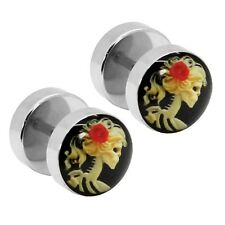 2 Fakeplugs Totenkopf Rote Rose Rockabilly Fake Plug Tunnel Piercing Ohrstecker