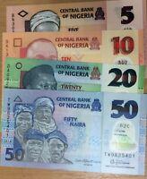 Nigeria Set 4 Pcs 5 10 20 50 Naira Random Year Polymer P 37 38 39 40 UNC