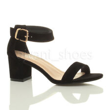 Womens Ladies Low Mid Heel PEEP Toe Buckle Ankle Strap Party Strappy Sandal Size UK 6 / EU 39 / US 8 Black Suede