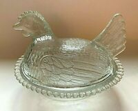 Vintage Hen on a Nest Chicken Indiana Glass? Clear Candy Nut Trinket Bowl w/ Lid