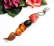 Cute! Silvertone & Multi Color Beads Dangle Belt Loop Clip!