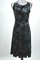Charter Club Petite SM Womens New Black Velvet Flare Dress Belted