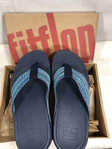 Fitflop Womens Surfa Flip Flop Sandals Sea Blue Geometric Platform Slip Ons 9