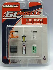 Greenlight 1/64 Muscle Car Shop Tooll Diorama Pack 6 Tools MIP VHTF RARE