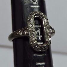 Antique Vintage Deco Retro Silver Women's Ring Mounting Rhinestones Size 4 #P507