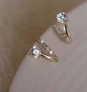 Elegant 18K Gold GF Fashion Crystal Rhinestone CRYSTAL Stud Earrings Gift Women