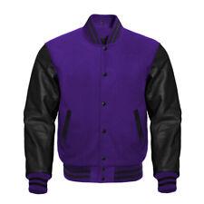 Varsity Letterman Baseball Purple wool and Genuine Black Leather Sleeves Jacket