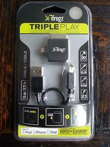 ifrogz charge sync cable Mini+Micro USB 2.0 for Apple 30Pin iPod iPhone iPad