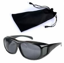 HD Vision Black Wrap Around Night Driving Glasses and Pouch