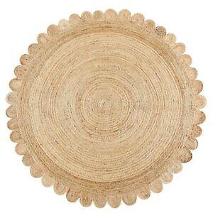 Rug 100% Natural Jute Reversible Braided Style Carpet Modern Living Area Rug