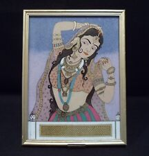 VINTAGE MIDDLE EASTERN NATURAL GEMSTONE PORTRAIT OF A BEAUTIFUL YOUNG WOMAN