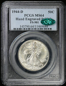 1944 D Walking Liberty Silver Half Dollar PCGS MS 64 CAC Hand Engraved Initials