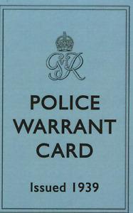 POLICE WARRANT CARD WW11 ISSUED 1939 & IDENTITY CARD (TYPE 2)