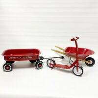 Vintage Radio Flyer Doll Size Metal Wagon Scooter Wheel Barrow Lot 13-17 In Set