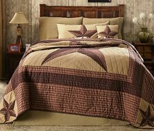 LANDON Twin Single QUILT : COUNTRY LONE STAR WESTERN RUSTIC RED CABIN