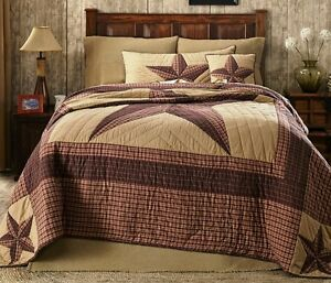 LANDON Cal King QUILT : COUNTRY LONE STAR WESTERN RUSTIC RED CABIN CALIFORNIA