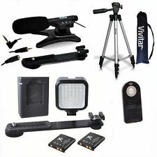 "50"" TRIPOD + MICROPHONE + LED LIGHT SYSTEM FOR NIKON CANON EOS REBEL SONY ALPHA"