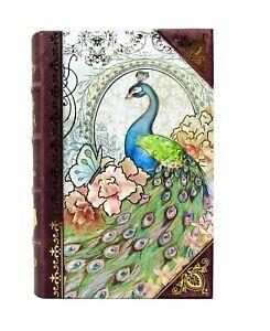 Punch Studio Gold Foil Keepsake Nesting Book Box Pastel Peacock 61944 Small