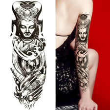 BUDDHA  POLYNESIAN TEMPORARY TATTOO ARM SLEEVE LARGE REALISTIC