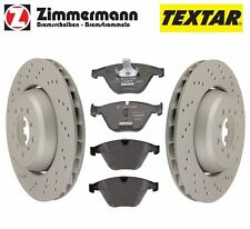 For BMW M3 E82 E90 E92 Set of Front Vented Zimmermann Brake Rotors & Textar Pads