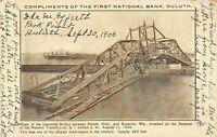 INTERSTATE BRIDGE~DULUTH-SUPERIOR~WRECKED BY WESTERN TRANSIT STEAMER 06 POSTCARD