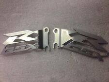 GSX-R GSXR 600 750 1000 SRAD FOOT PEG HEEL GUARDS PLATES NEW! CUT OUT SILVER