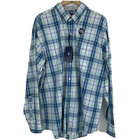 NEW Izod Button Down Shirt Mens Sz XL White Blue Green Plaid Long Sleeve II2