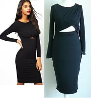 Sexy Clubwear Black Bodycon Party Cocktail Dress Crossover Bust 10 12 UK Seller