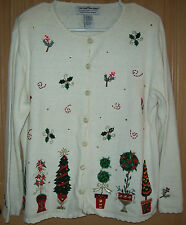 Heirloom Collectibles Christmas 2004 Size M Embellished Cardigan Ivory
