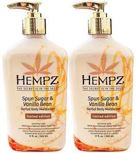 2-Pack Hempz SPUN SUGAR & And VANILLA BEAN Herbal Moisturizer Lotion 17oz